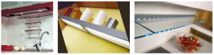 Příklad osvětlení na liště zabudované v poličce a osvětlené skleněné police.